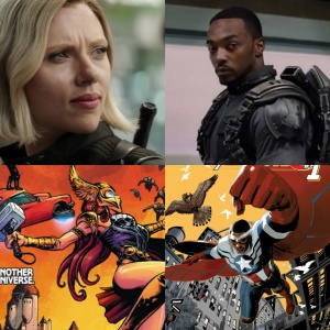 Sam Wilson Captain America and Natasha Romanoff Thor
